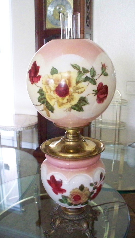 Victorian Gwtw Parlor Lamp American Beauty Roses Lamp Electric