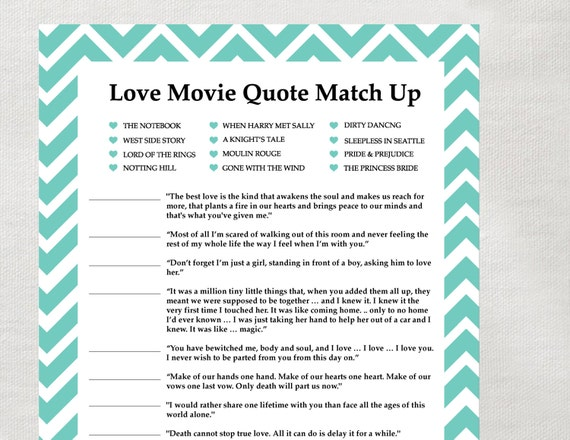 instant love quote matchup instant download bridal shower