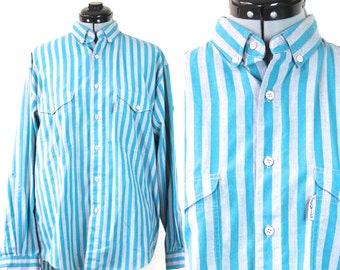 SALE Vintage Levis Hipster Striped Button Up Collared Shirt Large