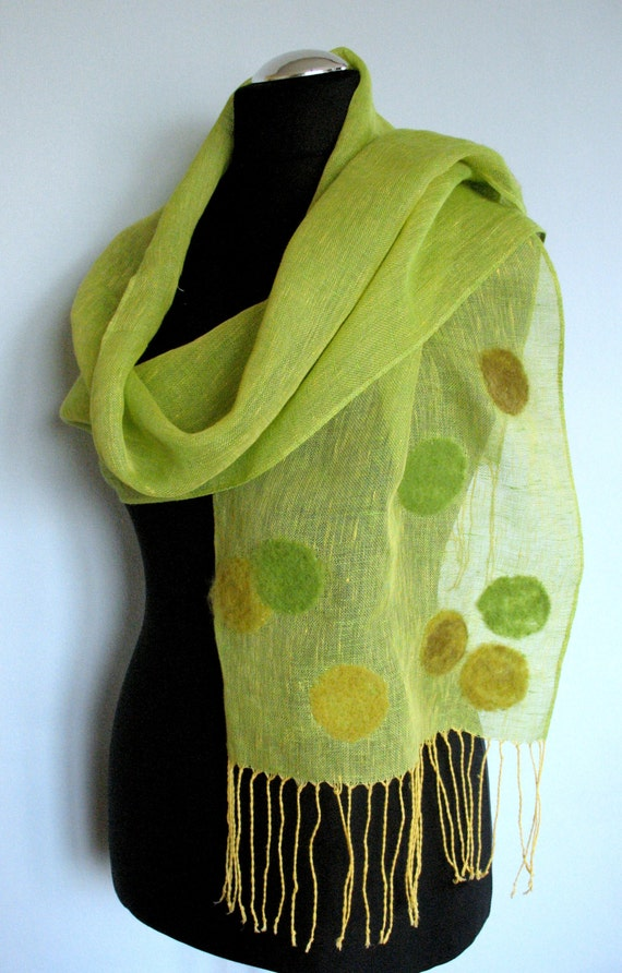 Linen Scarf  Felted Wool Green Salad Shawl Scarf