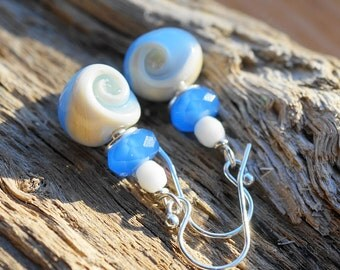 Earrings Dangle Sterling Silver Lampwork Artisan Glass Blue Cream Ocean Waves Fish