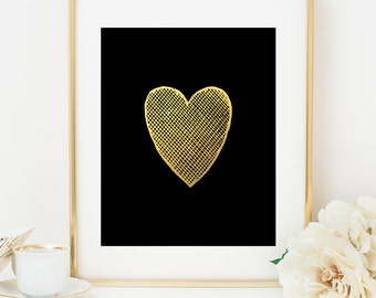 Gold Heart, Gold Heart Print, Faux Gold Wall Art Decor, Gift for Husband, 1st Anniversary Gift, Gift for Wife, Valentines Day Gift, Gold Art