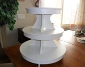 3 Tier Round or Scallop Cupcake Stand / Cupcake Stand White PVC Plastic w/Apron plate size 9, 11, 13