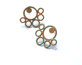 SALE LIQUIDATION green and orange circle post earrings, powdercoated recycled copper wire, hypoallergenic surgical steel posts, circus line