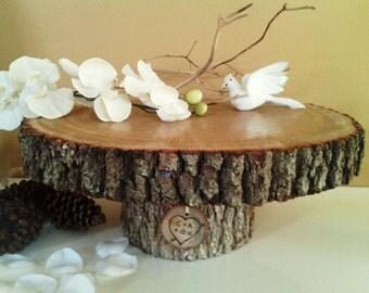 """TREASURY ITEM - 16"""" Rustic wedding cake stand - Wood Tree slice - Wood cake stand - Wedding decoration - Reclaimed tree slice"""