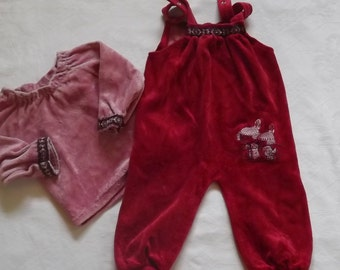 70s  original Overall + Shirt Velour Cotton Plush Indians for Age 6 Mounths from Germany