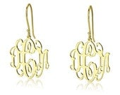 Gold Monogram Earrings -18k Gold Plated Over Sterling Silver Initial Earrings- 0.8""
