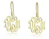 "Gold Monogram Earrings -18k Gold Plated Over Sterling Silver Initial Earrings- 0.8"""