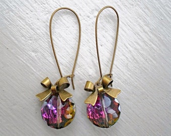 Rainbow Crystal Bow Earrings/Purple Earrings/Colorful earrings/Bow Earrings/Crystal Earrings/Bridesmaid Earrings
