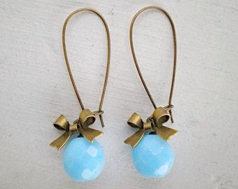 Baby Blue Czech Glass Bow Earrings/Baby Blue Earrings/Blue Earrings/Bow Earrings/Bridesmaid Earrings/Czech Glass Earrings
