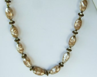 Big Sale. Miriam Haskell signed vintage pearly baroque bead necklace WAS 79.  w. brassy accents, Choker . pearlized . Estate . beads