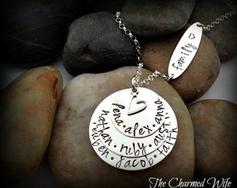 Family Name Necklace - Custom Mothers Family Jewelry - Hand Stamped Family Jewelry - Personalized Necklace - The Charmed Wife - Grandma Gift