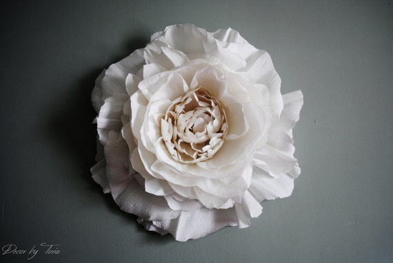 Giant crepe paper peony wall flower home wedding decor for Crepe paper wall flowers