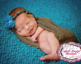 newborn photography prop, infant tie back, newborn tie back headband, crochet tie back , crochet headband, pearl headband