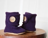 Purple Baby Booties. Boots. Children Fashion. Cozy. Leather Sole. Slippers and Shoes. Toddler. Children.