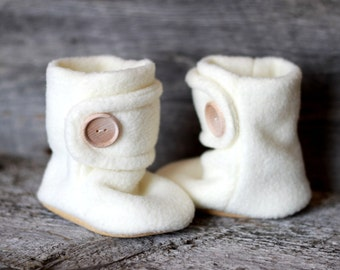 Cream Baby Booties. Children Fashion. Cozy. Leather Sole. Winter Slippers.