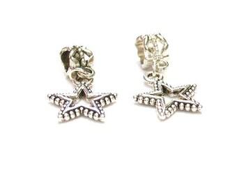3  Silver Star Charm, Euro Dangle Charm Beads,  Bracelet / Neckalce  European - Lagre Hole
