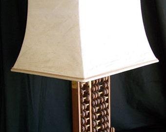 James Mont lamp vintage abacus with original custom pagoda silk shade Hollywood Regency 1950s