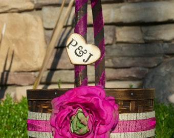 Personalized Flower Girl Basket over 45 different flowers and 35 ribbon to select from