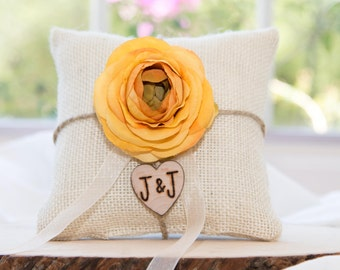 Yellow Ranunculus flower custom ivory burlap ring bearer pillow  shabby chic with engraved heart  initials... many more colors available