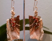 Stone Earrings  Wire Wrapped One of A Kind Book Matched Red, Grey and Peach Agate Slice Earrings