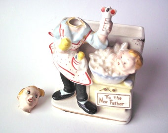 """Vintage """"To the New Father"""" Ceramic Planter with Broken Head, Reliable Glassware & Pottery Co., Japan"""
