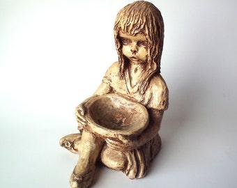 Vintage 1972 Silvano Plaster Figurine of Girl with Bowl