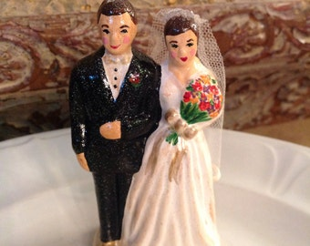 Vintage Inspired Wedding Cake Topper Bride and Groom