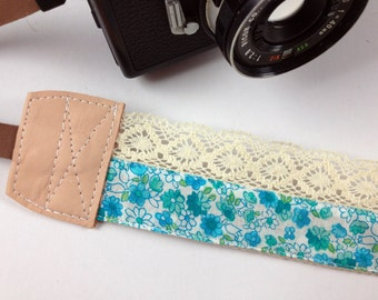 DSLR Camera strap (leather and webbing)---Lace style 18---Little green flowers