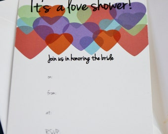 Fill-in Colorful Hearts Bridal Shower Invitations - Downloadable File