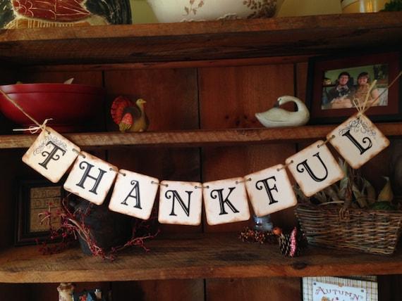 Thankful Bunting, Thanksgiving Bunting, Bunting Banner, Thanksgiving Garland, Pennant