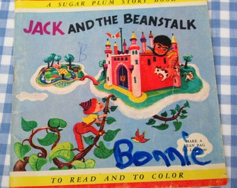 jack and the beanstalk - a sugar plum story book, vintage 1953 children's book