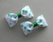 """St Pattys Hair Bows - Shamrock Hair Bows - Green and Pink Hair Bows - Pigtail Bows - Basic Bows - 3"""" Tuxedo Bows - Set of 2 - Baby Bows"""