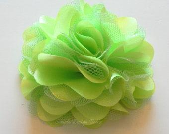 """Lime Green Hair Flower - Lime Green Flower Clip - Hair Clip or Brooch - 3"""" OLIVIA FLOWER - Satin Hair Flower - Hair Flowers"""