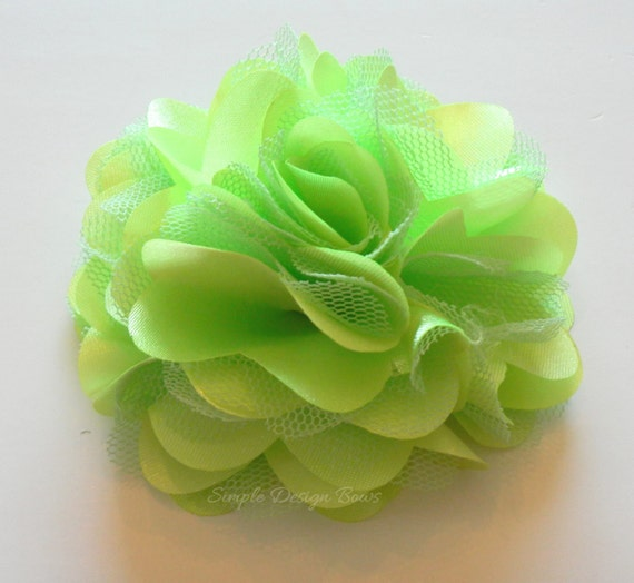 "Lime Green Hair Flower - Lime Green Flower Clip - Hair Clip or Brooch - 3"" OLIVIA FLOWER - Satin Hair Flower - Hair Flowers"