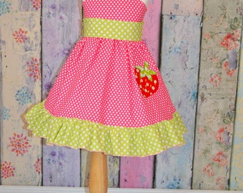 Strawberry girls flutter sleeve dress with ruffle-strawberry applique-sizes 2-7
