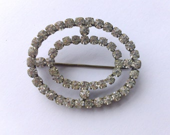 Antique Rhinestone Paste Brooch Bridal Wedding Oval  Fashion Jewelry