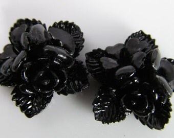 6 Vintage Glossy Black Rose Cabochons Cb70