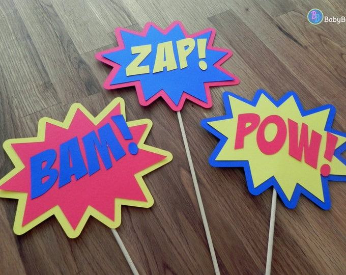Photo Props: The Superhero Phrase Set (3 Pieces) - party wedding birthday mask pow bam zap centerpiece