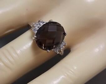 Smoky Quartz and Diamond Ring White Gold 10K 4.66Ctw 2.8gm Size 7 Estate Jewelry