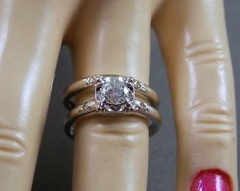 Price Reduced 1950s Diamond Wedding Set .45Carats total White Gold 14K 4.5gm Size 5 Illusion Setting