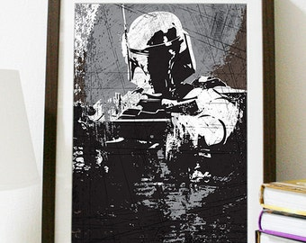 Star Wars All Black Boba Fett Vintage Poster Print