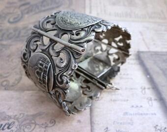 Sterling Silver Cuff Bracelet Vintage Art Nouveau Big Mexican Sterling Silver Cuff Bracelet Estate Jewelry