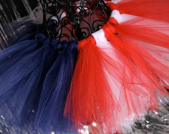 4th of July Tutu:  American Flag  Tutu - Red, White, & Navy Blue Patriotic Tutu - Sizes Girls 5 6 7 8