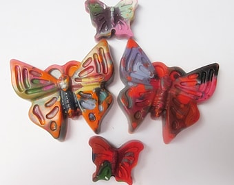 Upcycled Butterfly Crayons - Multi-Colored , Bag of 4 - Recycled Crayons , Party Favor , Stocking Stuffer