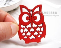 4 PCS - 36x50mm Pretty Red Lucky Owl Wooden Charm/Pendant MH105 03