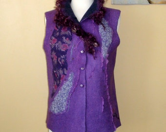 Nuno felted vest, purple, green lilac