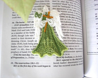 Embroidery Lace Angel, Angel with Cross Ornament, Easter Angel Bookmark, Machine Embroidered Angel, Resurrection Angel