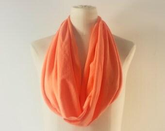 SALE - NEON ORANGE Cowl Neck Scarf - Neon Orange Infinity Scarf - Cotton Scarf