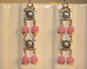 SALE Handmade Vintage Pretty Pale Pink Drop Earrings